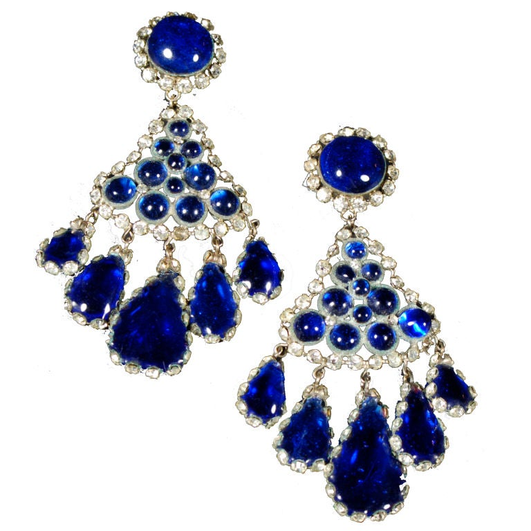 Vintage French Cabochon Earrings For Sale