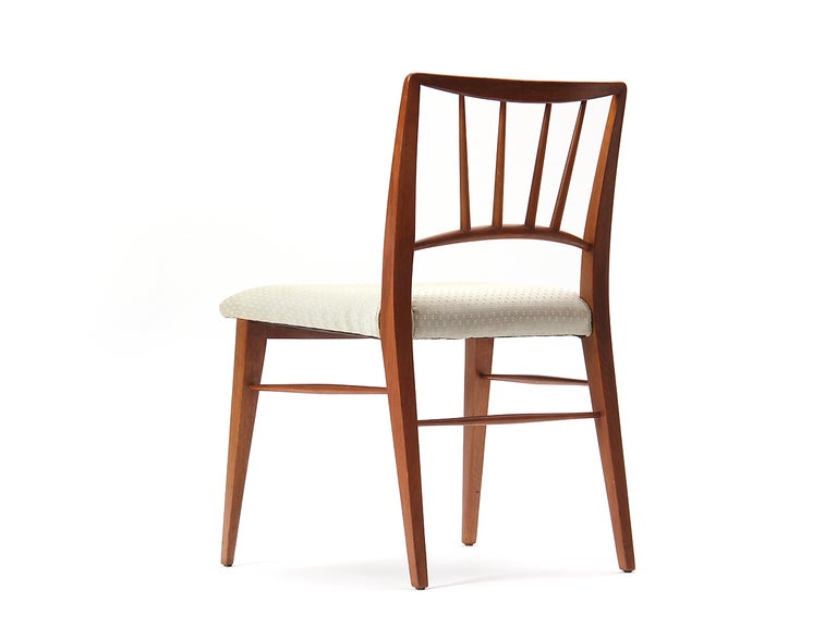Walnut Spindle Back Dining Chairs by Edward Wormley For Sale