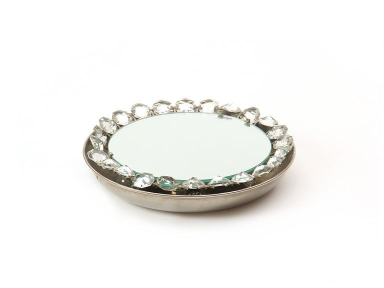American Mid-Century Modern Crystal Wall Mirror For Sale