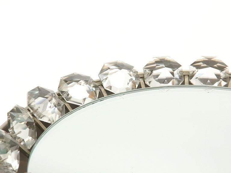 Mid-Century Modern Crystal Wall Mirror In Good Condition For Sale In Sagaponack, NY