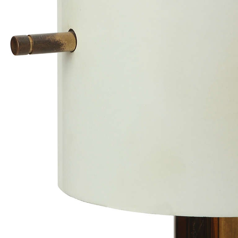 Mid-Century Modern 1960s Italian Cylindrical Brass Torchiere Floor Lamp Attributed to Arteluce For Sale