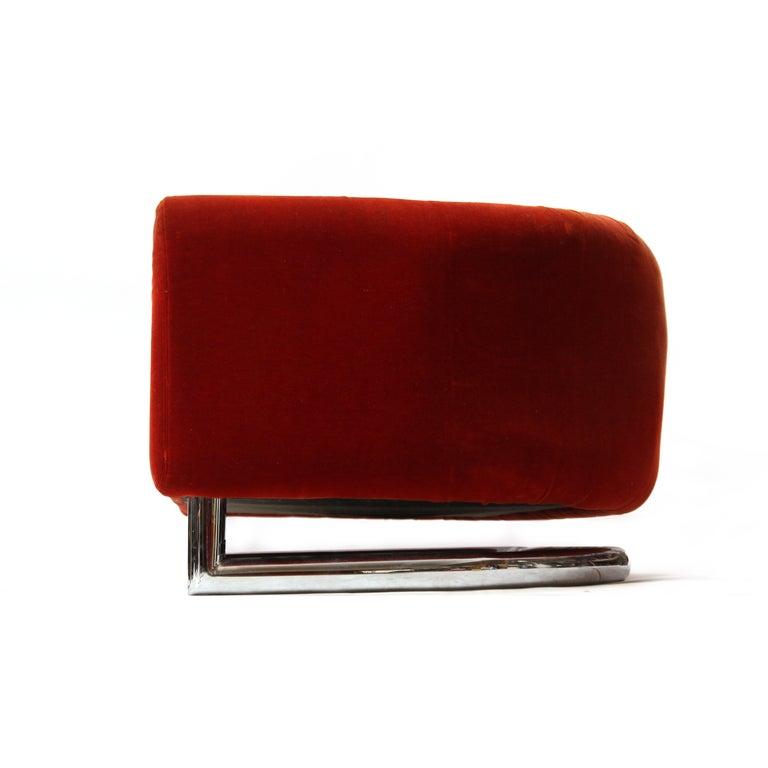 Floating Red Velvet Sofa 5