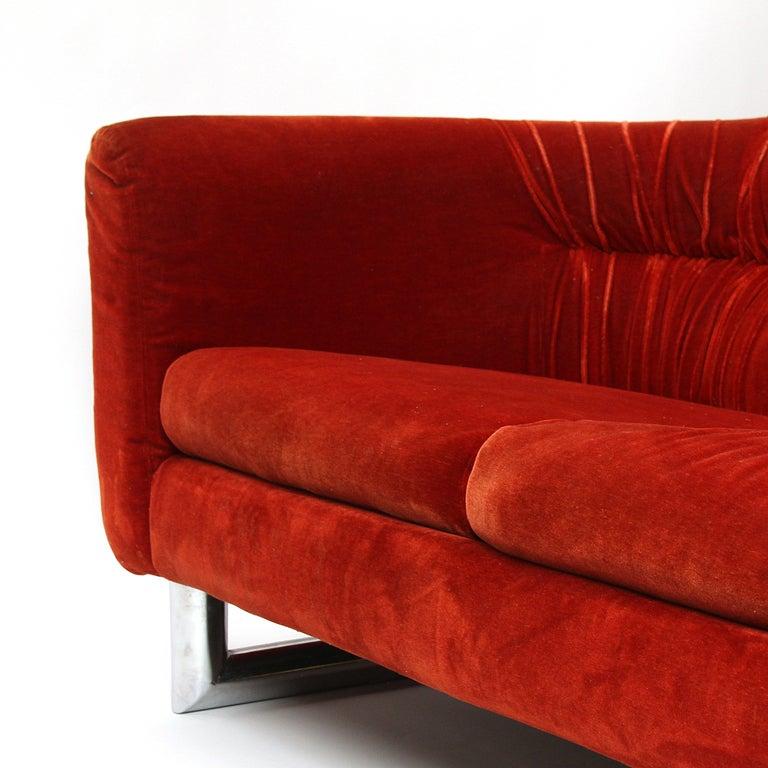 Floating Red Velvet Sofa 4