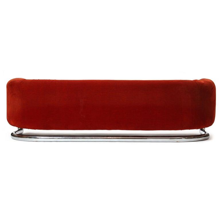 Floating Red Velvet Sofa 6