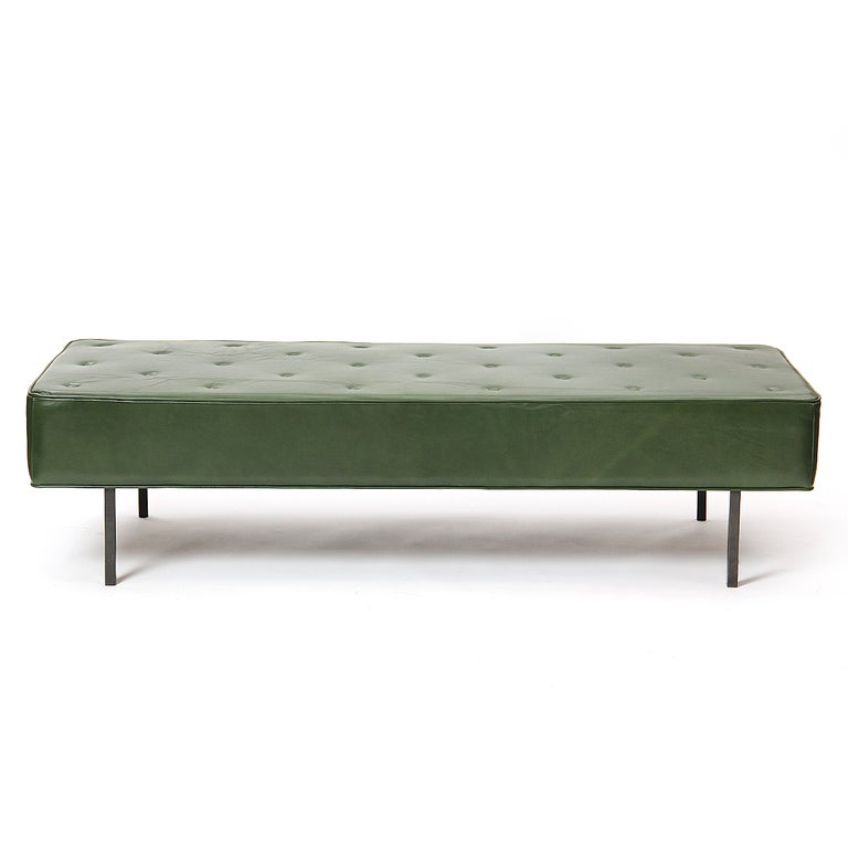 Green Leather Bench By Florence Knoll At 1stdibs