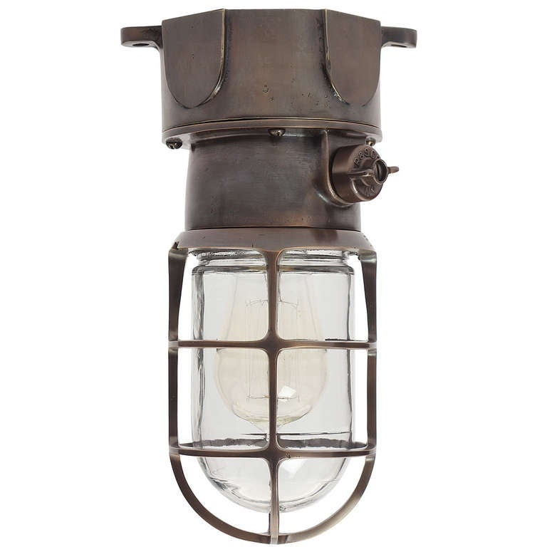 bronze flush mount industrial light fixture for sale at