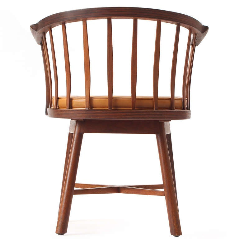 Mid-20th Century Swiveling Barrel Back Chairs by Edward Wormley For Sale