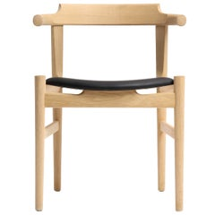 PP58 Elbow Chair by Hans J. Wegner for PP Møbler in Oak and Black Leather