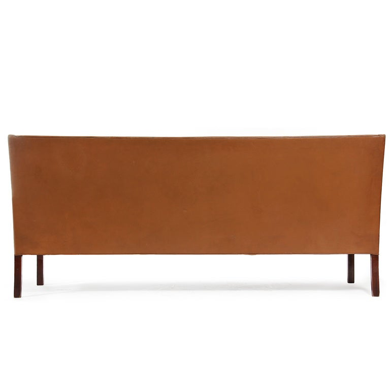 Danish Leather Sofa by Ole Wanscher For Sale