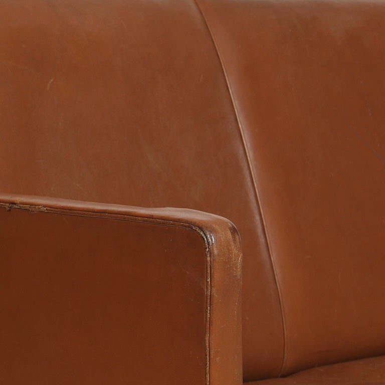 Leather Sofa by Ole Wanscher In Good Condition For Sale In New York, NY
