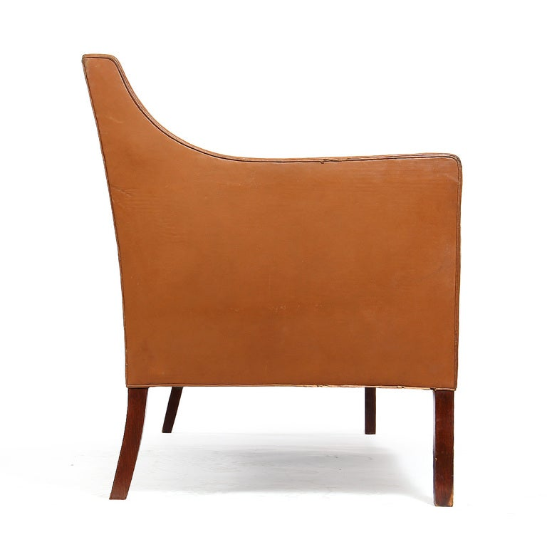 Scandinavian Modern Leather Sofa by Ole Wanscher For Sale