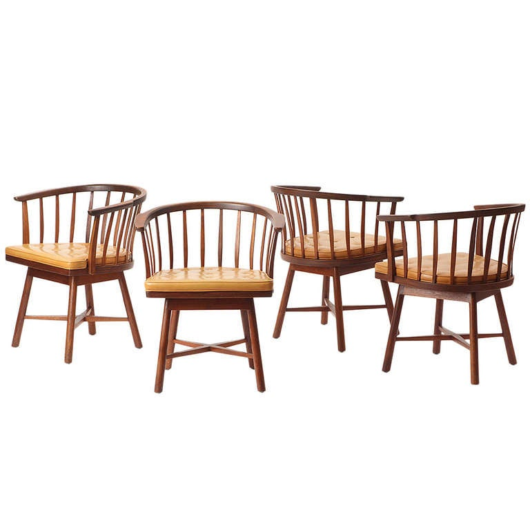 Swiveling Barrel Back Chairs by Edward Wormley For Sale
