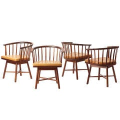 Swiveling Barrel Back Chairs by Edward Wormley