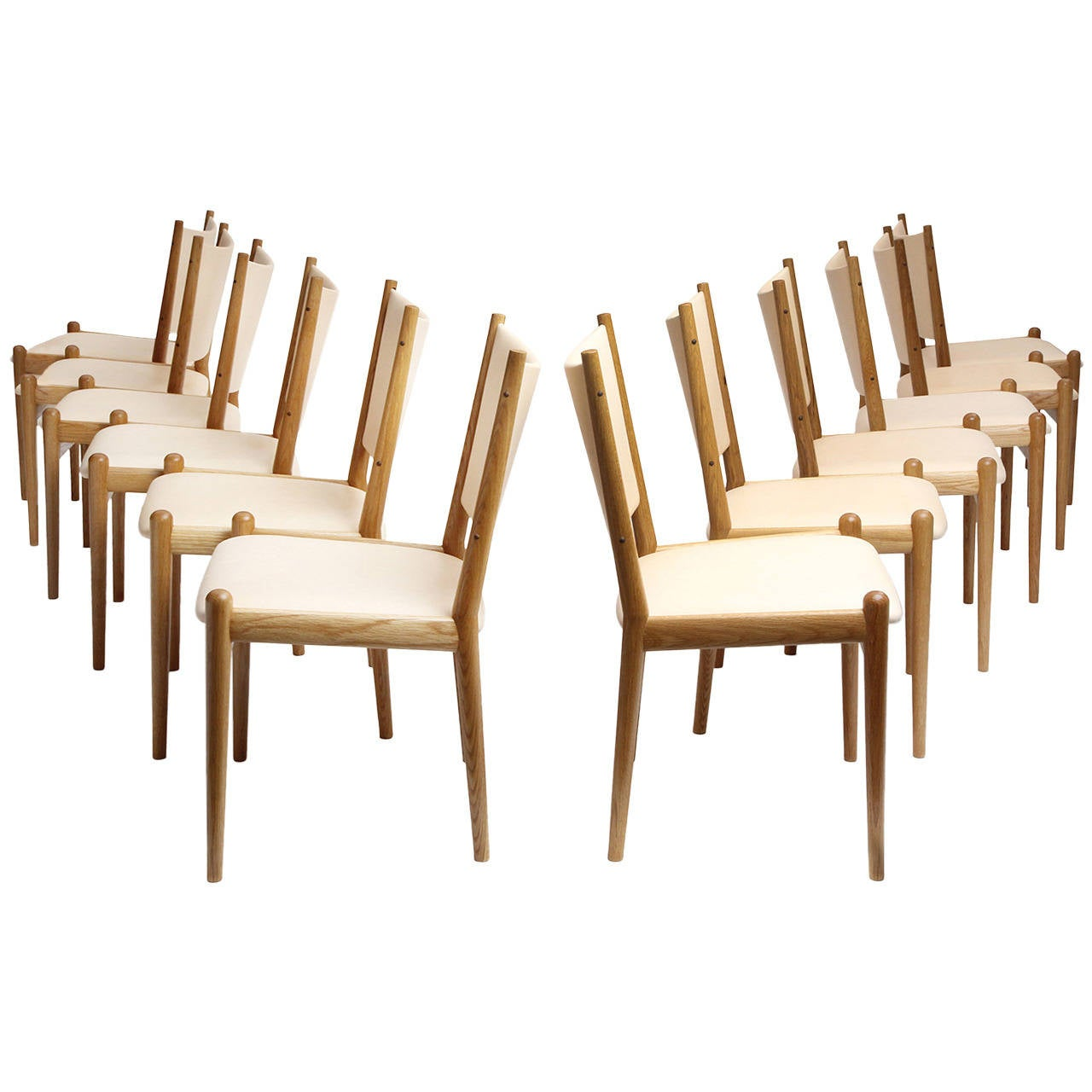 White Oak and Leather Dining Chairs by Hans Wegner For Sale