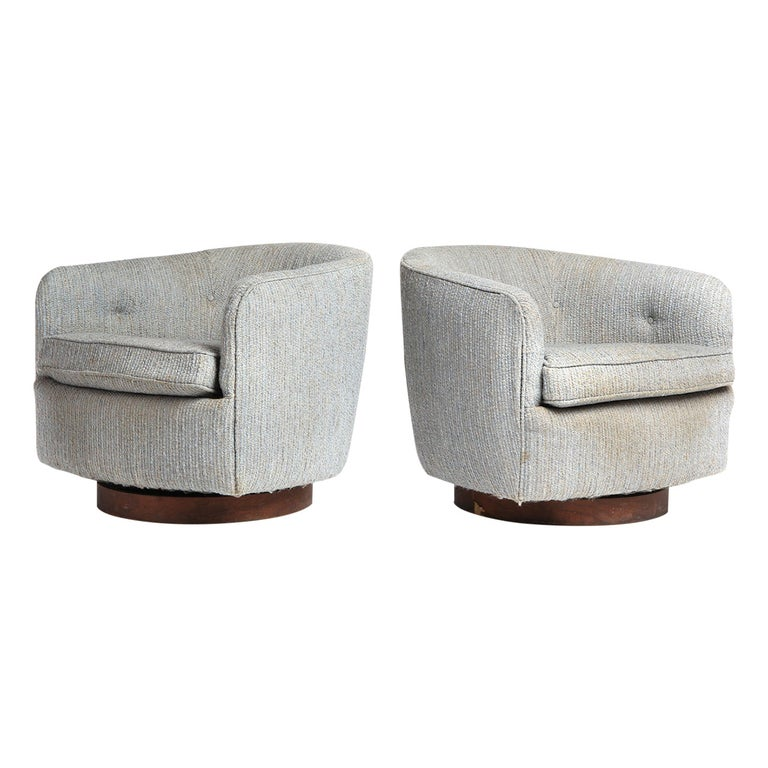 Swiveling Armchairs by Milo Baughman For Sale
