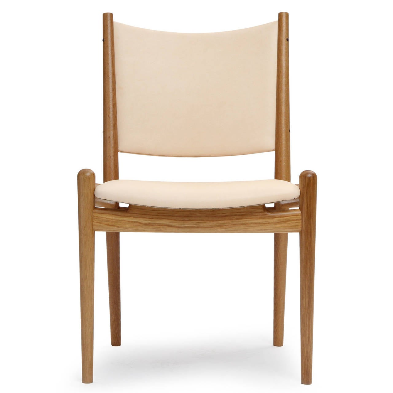 White Oak And Leather Dining Chairs By Hans Wegner For