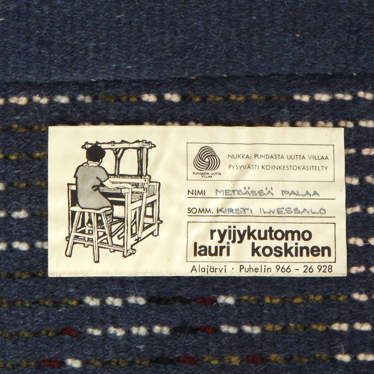 Late 20th Century Hand-Loomed Rya Rug For Sale
