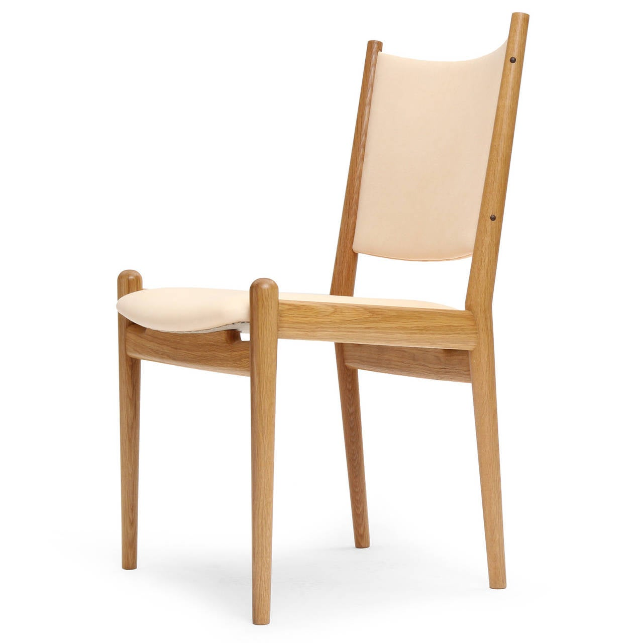 Scandinavian Modern White Oak and Leather Dining Chairs by Hans Wegner For Sale