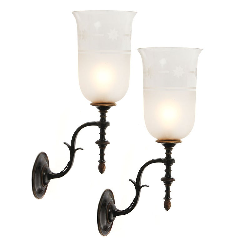 Hurricane Glass Wall Sconces For Sale at 1stdibs