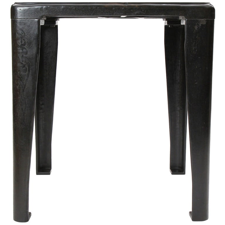 Patinated Cast Iron Industrial Table
