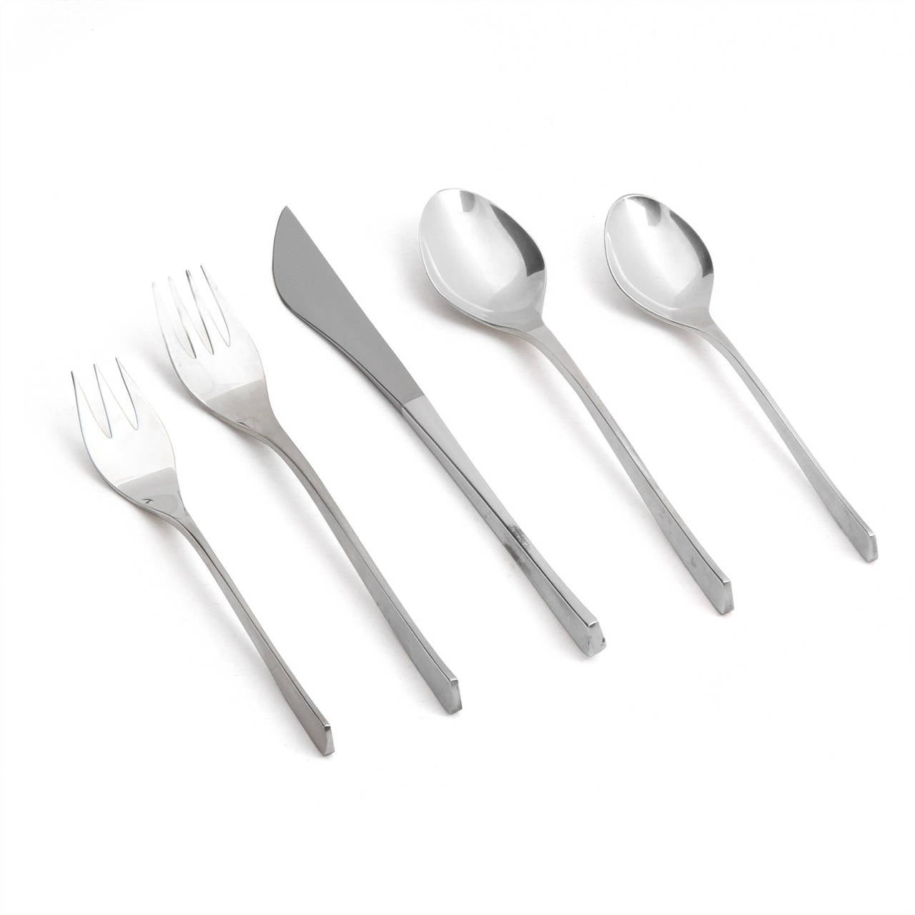 A service for twelve (12), of sculptural, Vision flatware in sterling created by the artist and jewelry designer Ronald Hayes Pearson. 