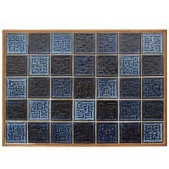 blue tile end table