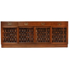 Rare Woven Front Credenza by Edward Wormley