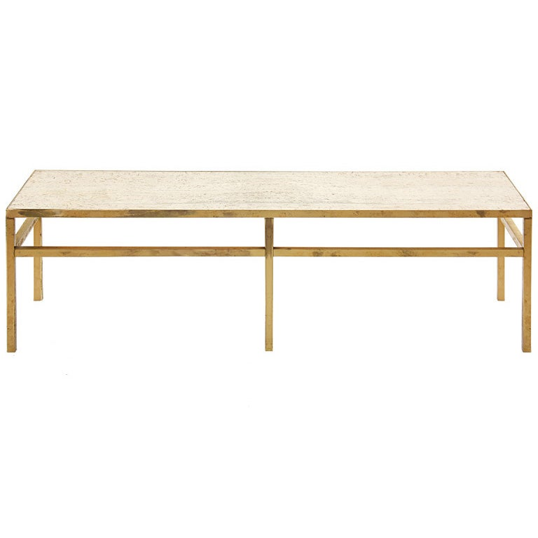 Brass and travertine console bench at 1stdibs for Cocktail table with 4 benches