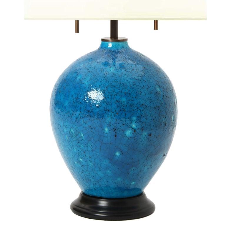 blue ceramic table lamp at 1stdibs. Black Bedroom Furniture Sets. Home Design Ideas