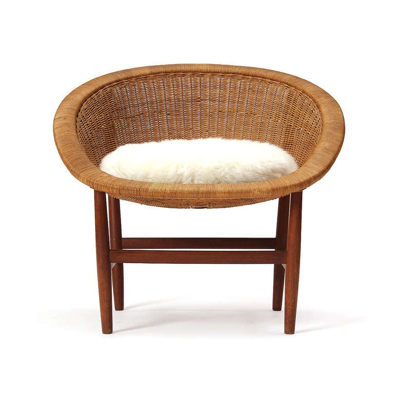 Teak and Wicker Chair by Nanna Ditzel 2