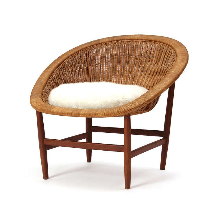 Teak and Wicker Chair by Nanna Ditzel 3