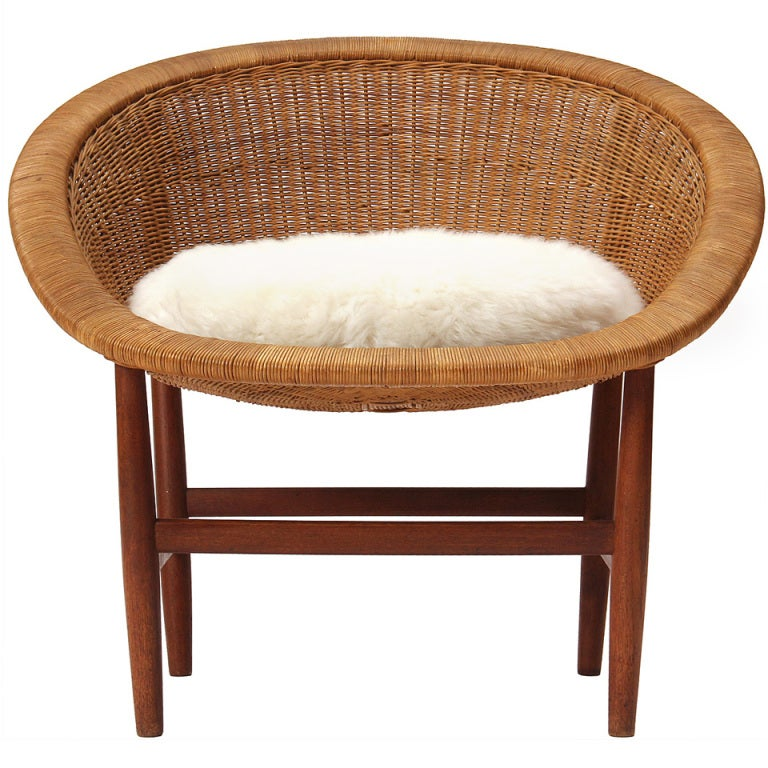 Teak and Wicker Chair by Nanna Ditzel 1