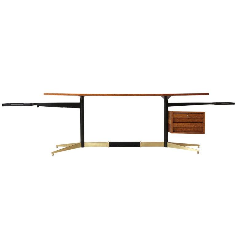 Tiger Oak Desk by Gio Ponti For Sale