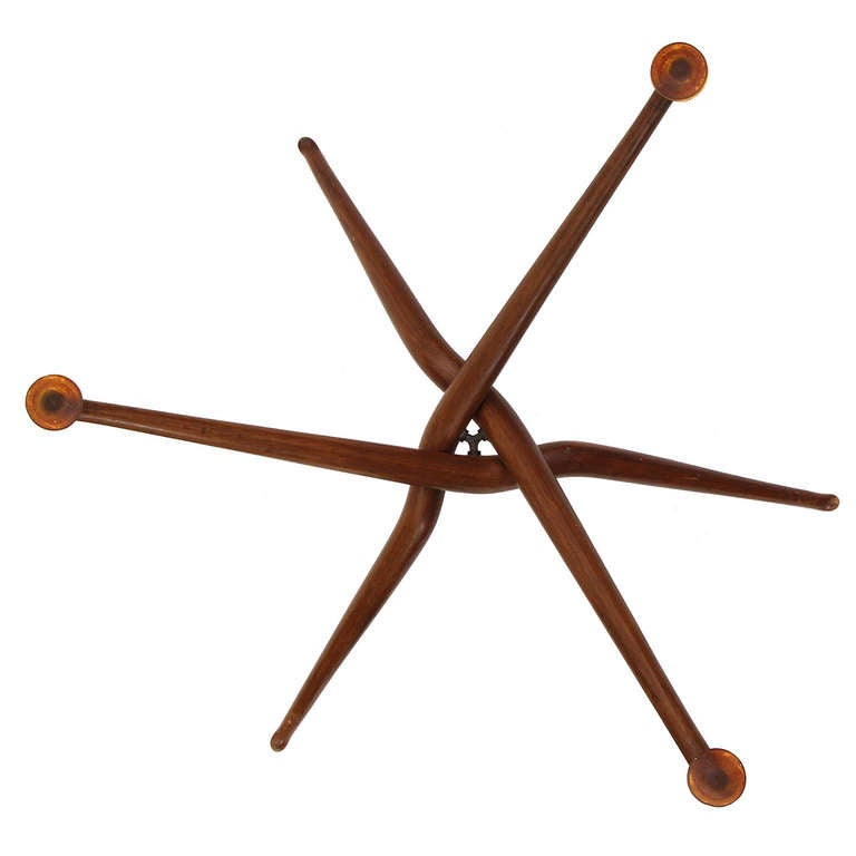 Walnut Sculptural Tray Table For Sale