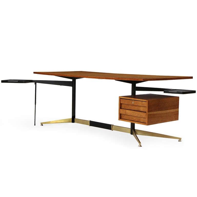 Italian Tiger Oak Desk by Gio Ponti For Sale