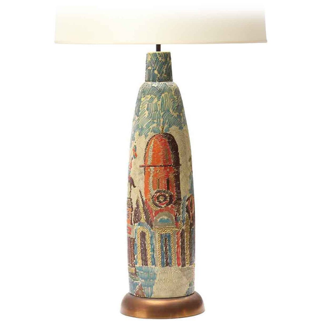 Monumental Painted Italian Table Lamp