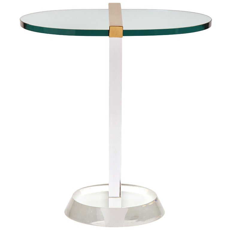 lucite and glass end table at 1stdibs