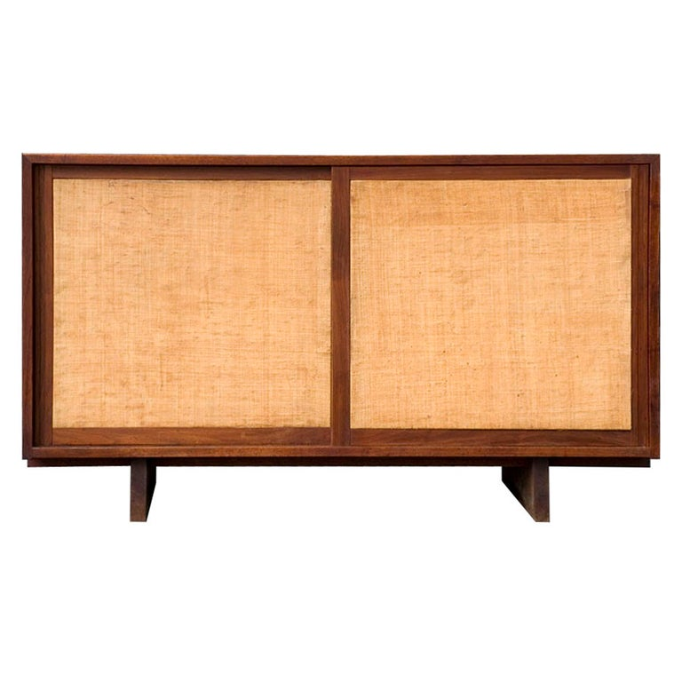 Grasscloth Console Cabinet by George Nakashima