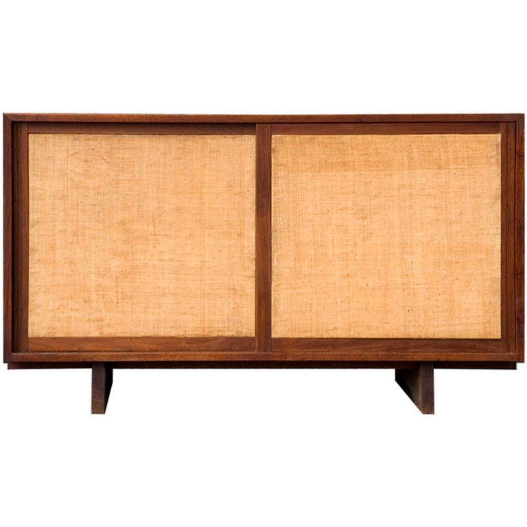 Grasscloth Console Cabinet by George Nakashima For Sale