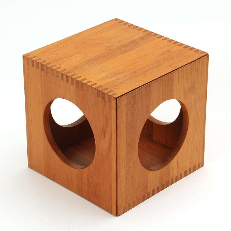 Solid teak cube tables by richard nissen for sale at 1stdibs for Solid wood cube side table