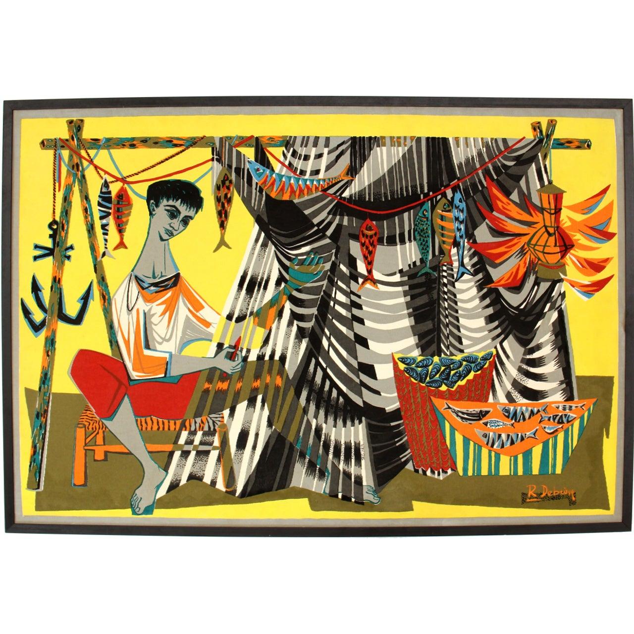 """Le Remailleur De Filet"" Tapestry by Robert Debieve"