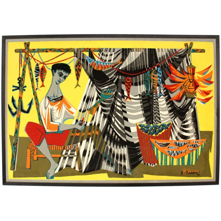 """Le Remailleur De Filet"" Tapestry by Robert Debieve"