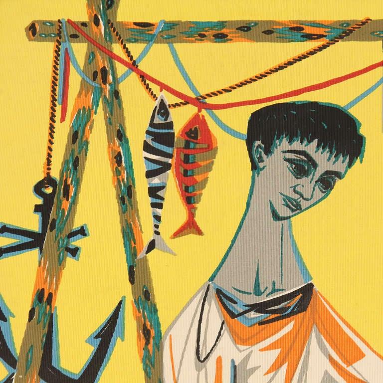 """Le Remailleur De Filet"" Tapestry by Robert Debieve 2"