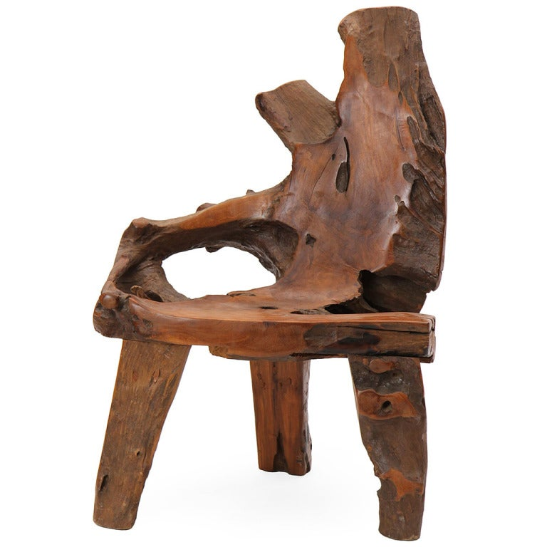 Tree trunk chair at 1stdibs - Chair made from tree trunk ...