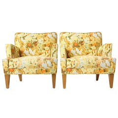 Pair of Floral Lounge Chairs by Edward Wormley