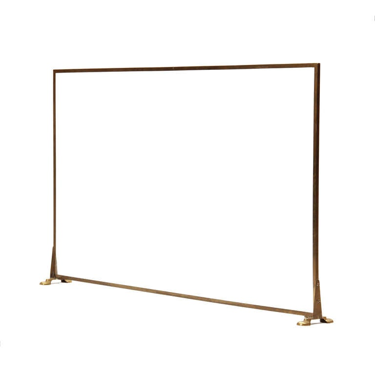 large glass and brass fire screen at 1stdibs