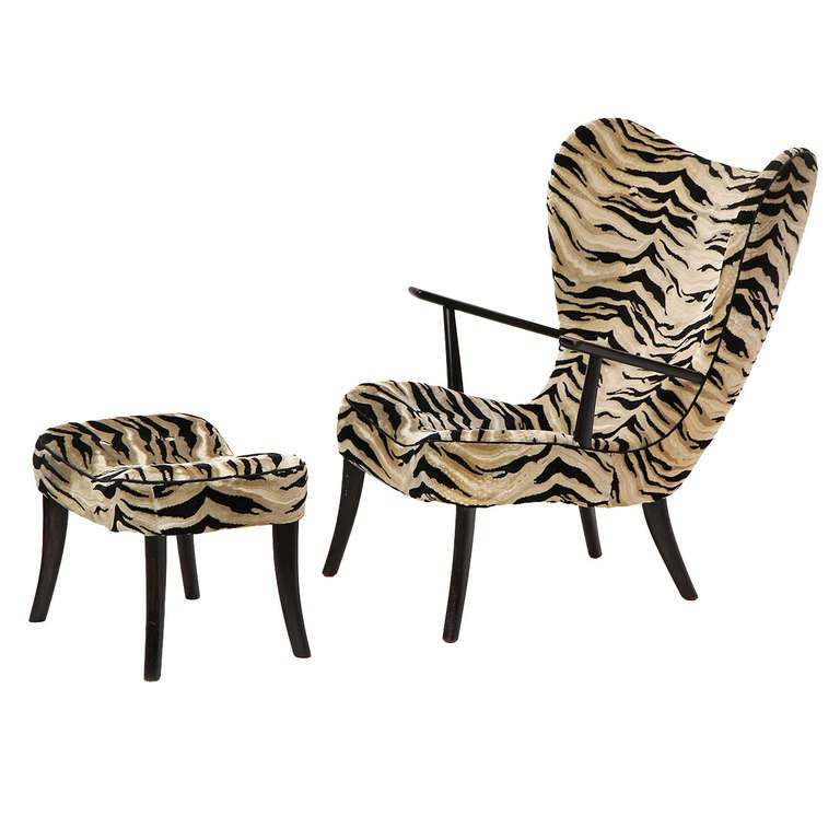 Danish Zebra Print Lounge Chair And Ottoman For Sale At