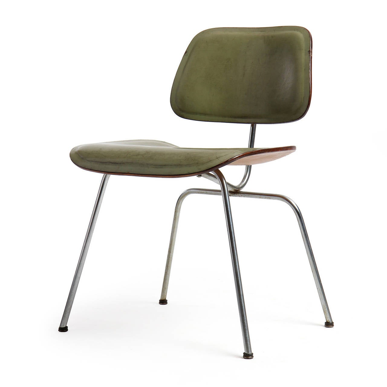 Leather dcm chair by charles and ray eames for sale at 1stdibs for Leather eames dining chair