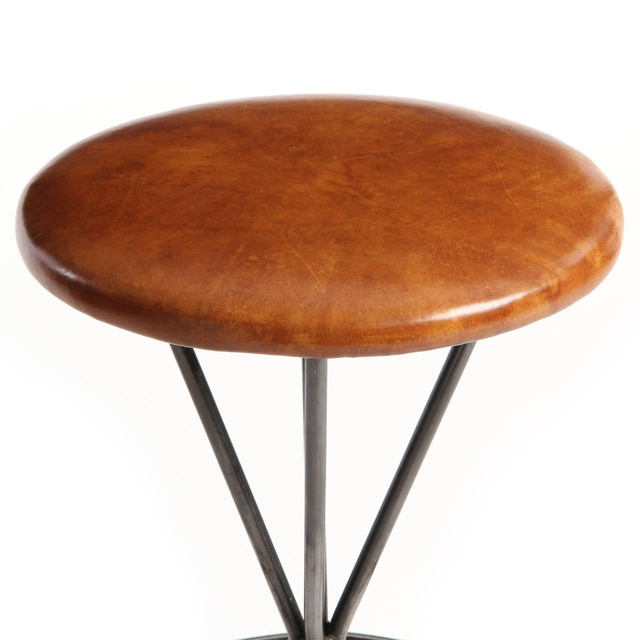Mid-Century Modern Swiveling Steel and Leather Stool For Sale