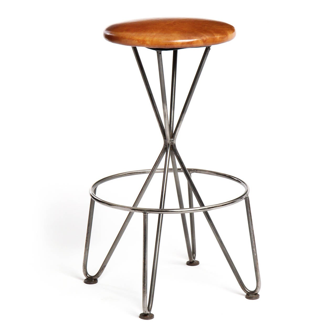 American Swiveling Steel and Leather Stool For Sale